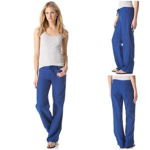 Vince M Astra Blue Drawstring Linen Beach Pants